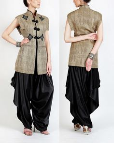 Oriental Touch Gold Self Jaquered Brocade Silk Tailored Jacket With Satin Dhoti