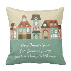 New Home Address Just Moved Throw Pillow. This fun design features a whimsical row of houses. The color scheme is seafoam green, brown, orange and blush pink. Personalize these pillows to commemorate the purchase of your new or first home. These pillows make a great housewarming gift and keepsake. They are also great to present to couples who are just starting out on their own. This design is available in a variety of color schemes.