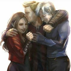 The Twins and Daddy Clint. <<< I love it how he just kinda absentmindedly adopted them.