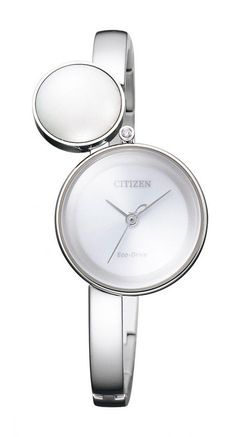 """The Citizen L Ambiluna has a 24.6-mm stainless steel case with a bangle bracelet. It is distinguished by the addition of an """"Urushi drop"""" — an element of traditional Japanese lacquerware that creates dazzling light reflections — floating above the top left of the case.  Inside is Citizen's Caliber B035, with Eco-Drive technology.  More @ http://www.watchtime.com/wristwatch-industry-news/industry/citizen-l-ambiluna-the-all-new-ladies-eco-drive-collection/ #citizen #watchtime #ladieswatches"""