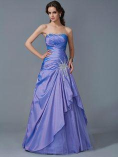 Trumpet/Mermaid Strapless Sleeveless Beading Floor-Length Taffeta Dresses - Prom Story