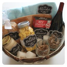 Fun, quick and easy date night gift basket idea! Perfect for Valentine's Day! … - DIY Projects for Men Picnic Gift Basket, Date Night Gift Baskets, Date Night Gifts, Food Gift Baskets, Themed Gift Baskets, Jar Gifts, Food Gifts, Baseball Gift Basket, Easy Date