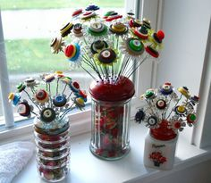 Button Flowers in Salt Shakers/Cheese Containers