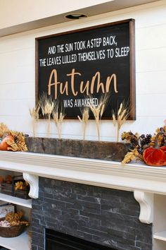 Create a custom DIY fall sign with this step by step tutorial. An easy way to create a big statement piece! #fallsign #fallDIY #fallcrafts #falldecor #fallideas Fall Crafts, Diy And Crafts, Fall Vignettes, Fall Flower Arrangements, Glitter Pumpkins, Fall Scents, Fall Mantel Decorations, Fall Diy, Fall Flowers