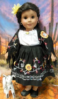 Flores de Medianoche embroidery outfit for by TheDollyDama on Etsy, $35.00