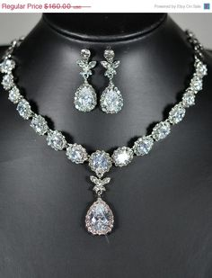 20%OFF Bridal necklace   SET ,Wedding jewelry, bib necklace, rhinestone Victorian bridal statement , tear drop dangle earrings ,back on Etsy, $39.99