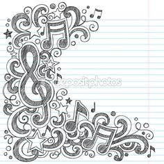 I Love Music Back to School Sketchy Notebook Doodles — Stock ...