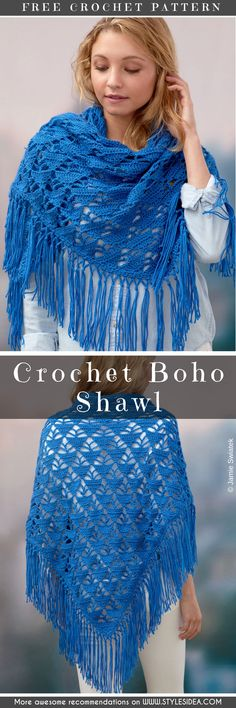 You will love this combine easy crochet stitches and for creating a beautifully fringed free crochet shawl that looks so awesome and absolutely intricate than Crochet Beanie Hat, Crochet Poncho, Crochet Scarves, Crochet Clothes, Crochet Lace, Free Crochet, Simple Crochet, Double Crochet, Crochet Prayer Shawls