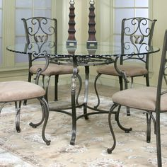 Round Glass Dining Table | Cramco J9811 4 Wescot Round Glass Top Dining  Table