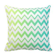 Green and blue gradient chevron stripes with light gray and white. Customizable!   #chevron #pillow #cushion #interior #homedecor