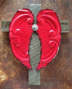 Red and Black Angel Wings on Wooden Cross by Repurposedlifeokla, $35.00