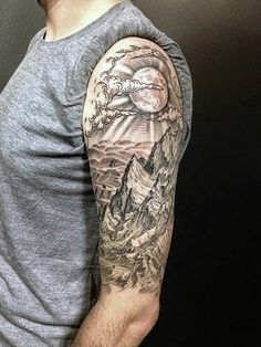 Half Sleeve Sun Rising Over Mountains Tattoo For Men