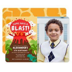 Dinosaur Volcano Kids Birthday Photo Invitation
