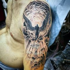 Angel Flying In Heaven Clouds Tattoos For Men Half Sleeve