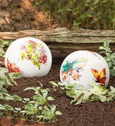 Watercolor Ceramic Garden Globe | Decorative Garden Accents
