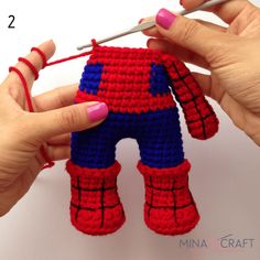 Crochet Dolls Free Patterns, Crochet Doll Pattern, Crochet Art, Cute Crochet, Amigurumi Patterns, Crochet Animals, Crochet Toys, Spiderman, Crochet Doll Tutorial