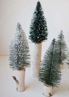 DIY: Miniature Tree Décor - Would be a cute idea to glue these to wine stoppers.