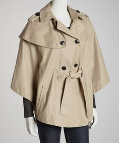 Love this Vintage Taupe Belted Button-Up Cape-Sleeve Jacket by Betsey Johnson on #zulily! #zulilyfinds