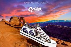 Casual high quality canvas shoes with famous destinations from around the world. Route 66, My Way, Rolling Stones, Kicks, Collage, How To Plan, Usa, Canvas, Travel