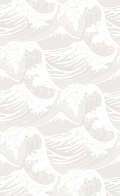 Great Wave Wallpaper Dramatic vintage 19th century design of waves and snow capped mountains, in white and grey