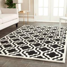 Contemporary Safavieh Handmade Cambridge Moroccan Black Wool Rug (8' x 10') , Size 8' x 10' (Cotton, Trellis)