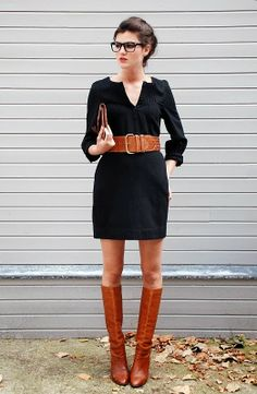 Cute Black Dress And Long Brown Boots