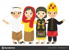 People Illustration, Flat Illustration, Happy Birthday Fun, Cartoon Cartoon, Indonesian Girls, Simple Art, Girls Wear, Traditional Dresses, Boy Or Girl