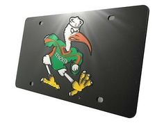 Miami Hurricanes Acrylic Inlaid Black License Plate with Sebastian