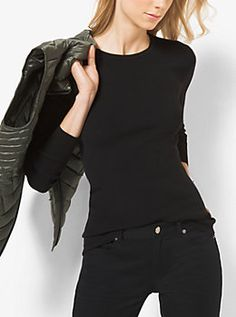 Ribbed Crewneck Sweater by Michael Kors