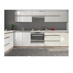 Kuchyňa - Tempo Kondela - Line 260 cm dub sonoma + lesk vysoký biely Kitchen Cabinets, Vanity, Home Decor, Kitchen Ideas, Kitchens, Patterns, Google, Kitchen Modern, Wolves
