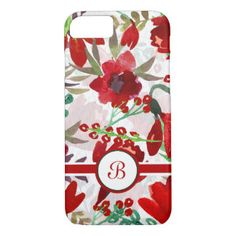 Red Watercolor Tulips, Monogram iPhone 7 Case