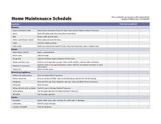 Home maintenance schedule - Microsoft templates