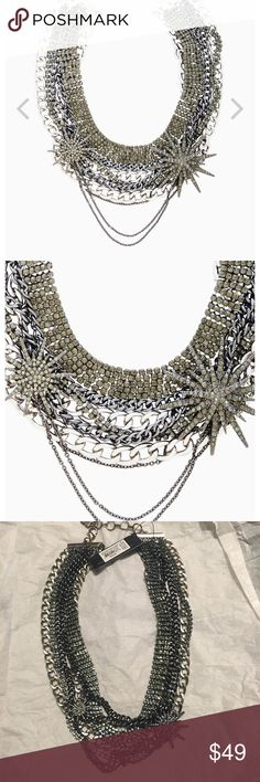BCBG Layered Chain Necklace New with tags, chain necklace from BCBGMAXAZRIA. Necklace is 16 inches long with a two inch adjustable lobster claw clasp. Metal necklace with glass stone and star details. BCBGMaxAzria Jewelry Necklaces