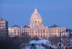 The Minnesota State Capitol in St Paul; Cass GIlbert designed the building and it opened in 1905.