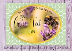 Custom Rectangular, Bumble Bee Sticker, Honey Bee Label, CustomText Sticker, Food Label Sticker, Honey Jar Sticker, Cosmetic  Product Label, by SBsStickers on Etsy