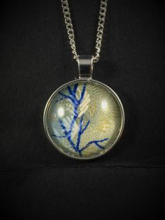 Japanese Washi Glass Cabochon Pendant Necklace Silver Blue Branches by ManabizzleCreations on Etsy