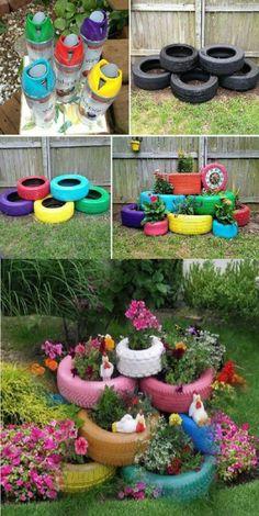 Vegetable garden tips and ideas. 7 tire garden ideas you must look on (video) Small Vegetable Gardens, Vegetable Garden Tips, Small Space Gardening, Planting Vegetables, Growing Vegetables, Tire Garden, Garden Art, Garden Club, Wooden Garden