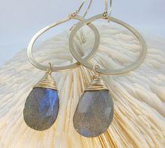 Gold Hoop Earrings Blue Labradorite by jamesmichellejewelry