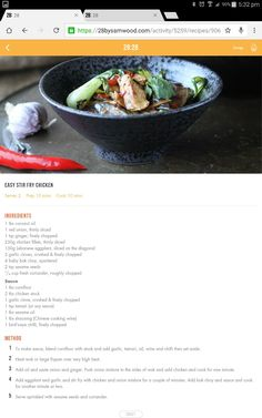 Chicken stir fry Clean Eating Recipes, Diet Recipes, Healthy Eating, Cooking Recipes, Healthy Recipes, Healthy Meals, Delicious Recipes, Healthy Food, Recipies