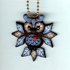 *POLYMER CLAY ~ Hooty Owl With Blue Feathers Necklace Polymer Clay Jewelry #Clay