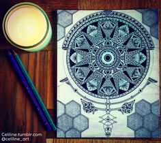 Mandala on watercolor background - sacred geometry, zentangle, doodle, illustration, artpiece, drawing, art, ink, Rotring
