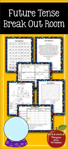 Future Tense Break Out Escape Room Spanish Distance Learning Spanish Teaching Resources, Spanish Activities, Interactive Activities, Teacher Resources, Class Activities, Teaching English, Spanish Basics, Spanish Lessons, Future Tense Spanish
