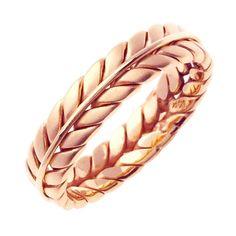 14K Rose Gold Hand Braided Wedding Ring Band for Men or Women (Sizes 3-14) 6mm