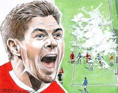 Paul Trevillion: The Master of Movement – in pictures Soccer Drawing, Steven Gerrard, Football Art, Original Artwork, Vibrant, Gallery, Drawings, Artist, Roof Rack