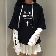 Black harajuku hooded fleece from Fashion Kawaii [Japan & Korea] - Cute Outfits Ulzzang Fashion, Harajuku Fashion, Kawaii Fashion, Cute Fashion, Ulzzang Style, Korean Ulzzang, Ladies Fashion, Trendy Fashion, Womens Fashion