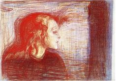 "December Edvard Munch is born. ""I painted the colors I saw."" Edvard Munch * The Sick Child (pastel, Edvard Munch, Wassily Kandinsky, Sick Kids, Post Impressionism, Oil Painting Reproductions, Klimt, Matisse, Oeuvre D'art, Les Oeuvres"