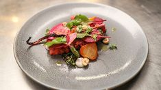 This seafood dish revolves around the two ingredients of Octopus and Beetroot. Callum finds a great balance with all the flavours in this recipe. Masterchef Australia, Season 10, Episode 29. Octopus