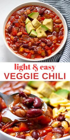 You can make this light and easy veggie chili in just thirty minutes with the help from Thai red curry paste and common pantry ingredients. Vegetarian Chili Easy, Healthy Chili, Veggie Chili, Vegetarian Meal Prep, Vegan Soup, Fall Recipes, Whole Food Recipes, Cooking Recipes, Chili Toppings