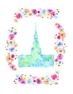 Atlanta, GA LDS Temple watercolor print