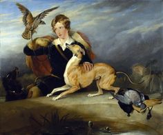 Richard Cavendish with Spot, the 6th Duke of Devonshires Italian greyhound, c.1828 by Edwin Landseer
